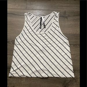 Kensie White and Black Striped Cropped Tank Top